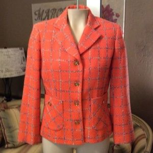 Neiman Marcus Orange Multi Tweed Blazer Lined 4